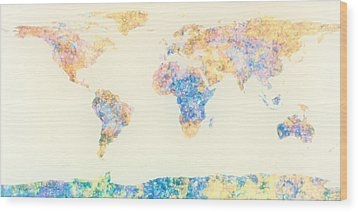 Abstract Earth Map 2 Wood Print by Bob Orsillo