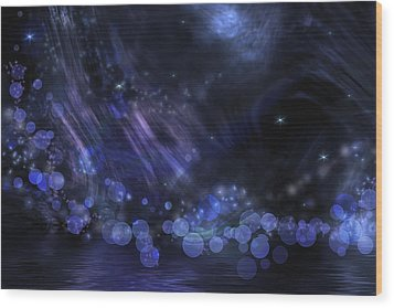 Abstract Fantasy In Black And Blue Wood Print by Nika Lerman