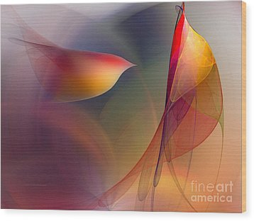 Abstract Fine Art Print Early In The Morning Wood Print by Karin Kuhlmann