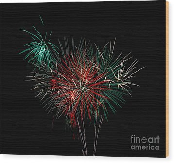 Abstract Fireworks Wood Print by Robert Bales
