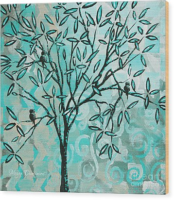 Abstract Floral Birds Landscape Painting Bird Haven II By Megan Duncanson Wood Print by Megan Duncanson