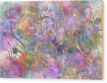 Abstract Floral Designe  Wood Print by Debbie Portwood