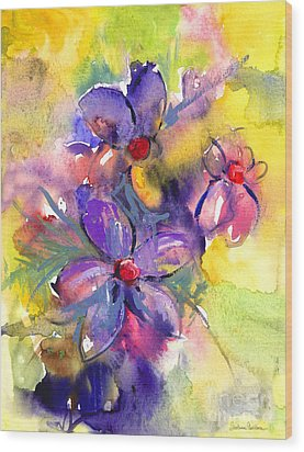 abstract Flower botanical watercolor painting print Wood Print by Svetlana Novikova