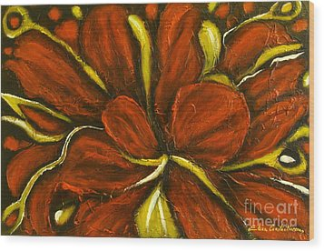 Abstract Flower Wood Print by Elena  Constantinescu