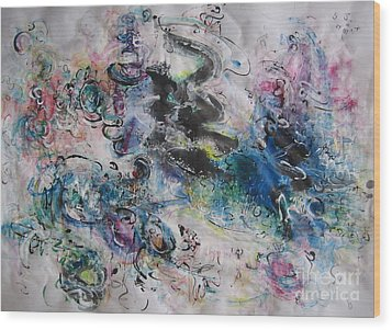 Abstract Flower Field Painting Blue Pink Green Purple Black Landscape Painting Modern Acrylic Pastel Wood Print by Seon-Jeong Kim