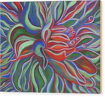 Abstract Flower Wood Print by Janice Dunbar