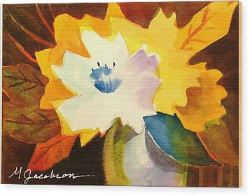 Abstract Flowers 2 Wood Print by Marilyn Jacobson