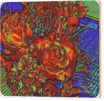 Abstract Flowers Compliments Wood Print
