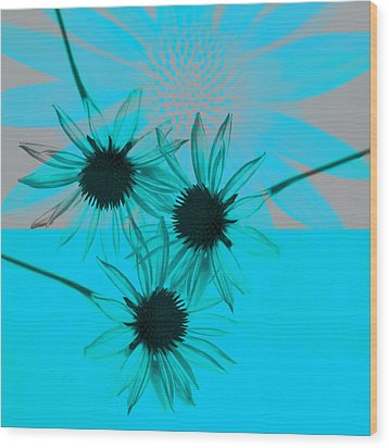 abstract - flowers - Flower Collage  Wood Print by Ann Powell