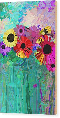 abstract - flowers- Flower Power Four Wood Print by Ann Powell