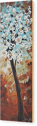Abstract Flowers Wood Print by Jolina Anthony