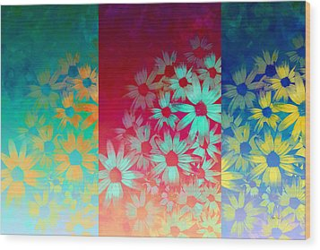 abstract  - flowers- Summer Joy Wood Print by Ann Powell