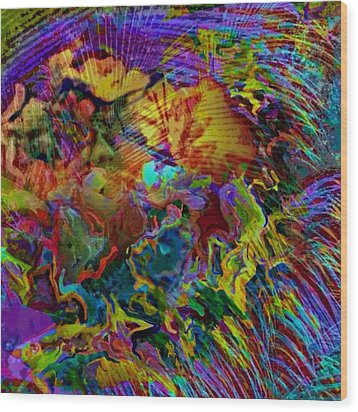 Abstract Fronds In Jewel Tones - Square Wood Print