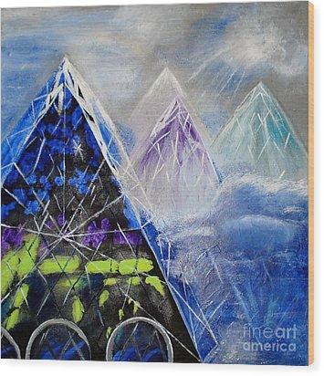 Abstract Glass Mountain Wood Print
