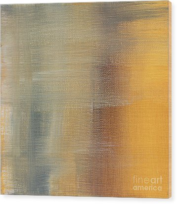 Abstract Golden Yellow Gray Contemporary Trendy Painting Fluid Gold Abstract I By Madart Studios Wood Print by Megan Duncanson