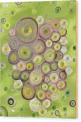 Abstract Grapes Wood Print by Veronica Minozzi