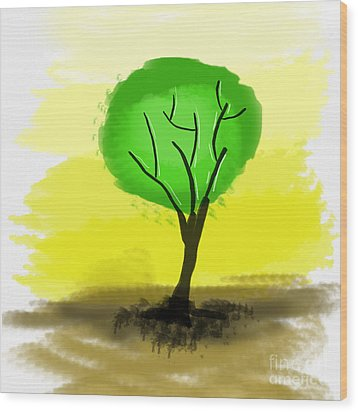 Abstract Green Tree  Wood Print by Art Photography