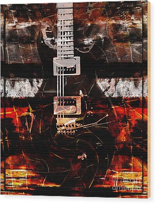 Abstract Guitar Into Metal Wood Print