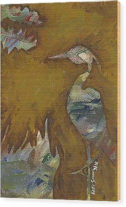 Abstract Heron Wood Print