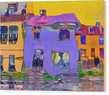 Abstract Houses Wood Print by Nina Bradica