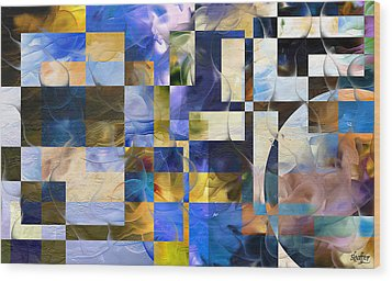 Wood Print featuring the painting Abstract In Blue And White by Curtiss Shaffer