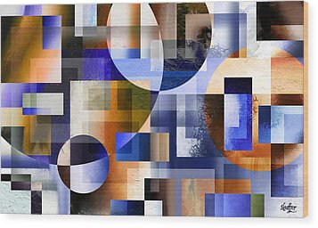 Wood Print featuring the painting Abstract In Blue by Curtiss Shaffer