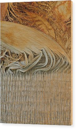Abstract In Gold And Brown Wood Print by Kirsten Giving