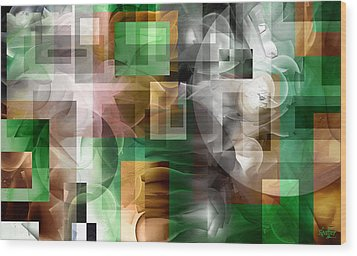 Wood Print featuring the painting Abstract In Green by Curtiss Shaffer