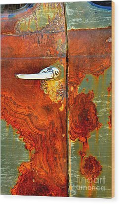 Abstract In Rust 24 Wood Print