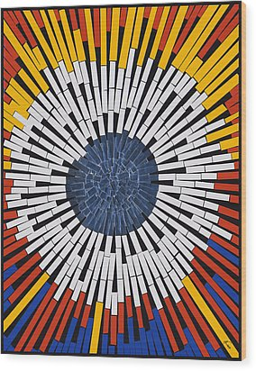 Abstract In Tape - Starburst Wood Print by Agustin Goba