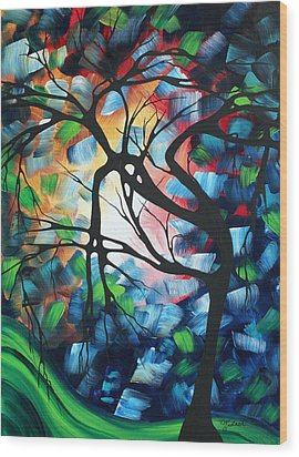 Abstract Landscape Art Original Colorful Painting Tree Maze By Madart Wood Print by Megan Duncanson