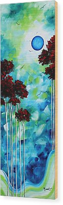 Abstract Landscape Art Original Tree And Moon Painting Blue Moon By Madart Wood Print by Megan Duncanson