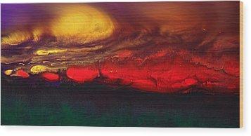 Abstract Landscape Fluid Art Dancing Sunset By Kredart  Wood Print by Serg Wiaderny