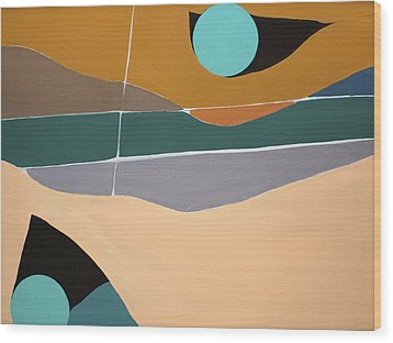 Abstract Landscape Wood Print by Karen Nicholson