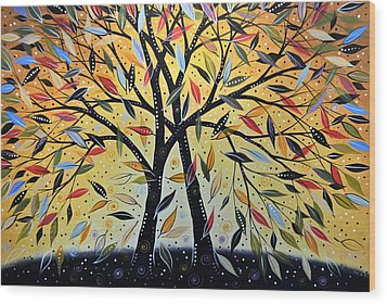 Abstract Landscape Modern Tree Art Painting ... New Day Dawning Wood Print by Amy Giacomelli