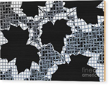 Abstract Leaf Pattern - Black White Light Blue Wood Print by Natalie Kinnear
