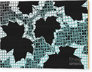 Abstract Leaf Pattern - Black White Turquoise Wood Print by Natalie Kinnear