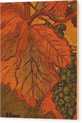 Abstract Leaves And Grapes Wood Print