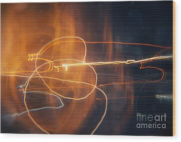 Abstract Light Streaks Wood Print by Pixel Chimp