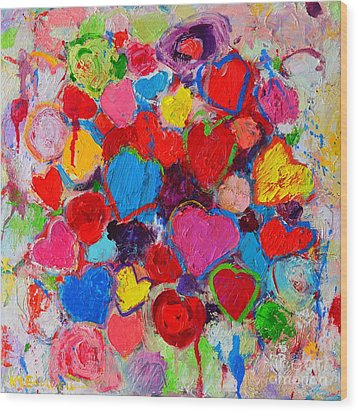 Abstract Love Bouquet Of Colorful Hearts And Flowers Wood Print