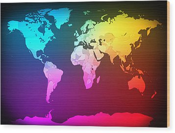 Abstract Map Of The World Wood Print by Michael Tompsett