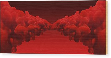 Abstract Merging Red Inks Wood Print by Allan Swart