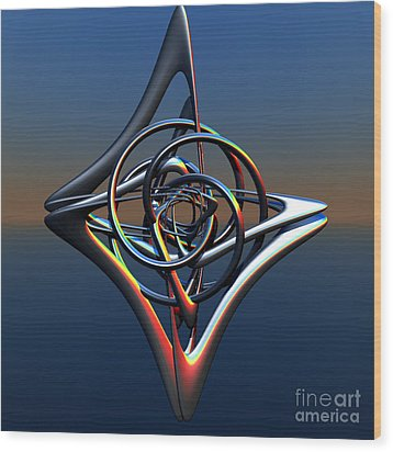 Wood Print featuring the digital art Abstract Metal by Melissa Messick