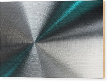 Abstract Metallic Texture With Blue Rays. Wood Print