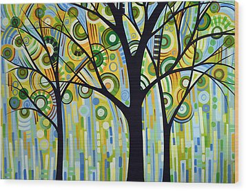 Abstract Modern Tree Landscape Spring Rain By Amy Giacomelli Wood Print by Amy Giacomelli