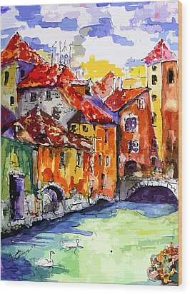 Abstract Old Houses In Annecy France Wood Print by Ginette Callaway