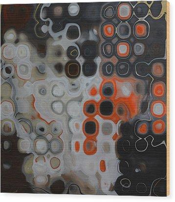 Abstract Orange Digital Print Wood Print by Andrada Anghel