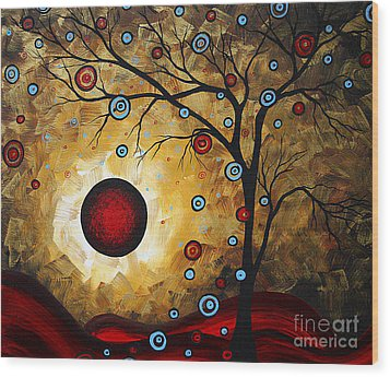 Abstract Original Gold Textured Painting Frosted Gold By Madart Wood Print by Megan Duncanson