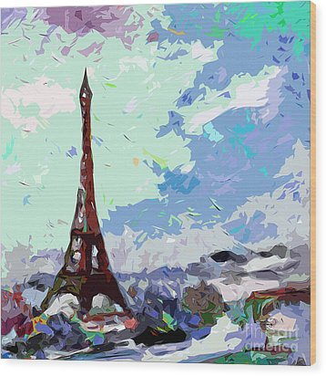 Abstract Paris Memories In Blue Wood Print by Ginette Callaway