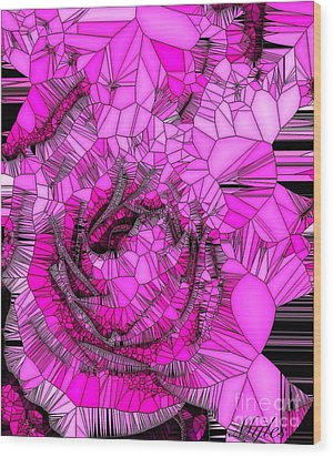 Abstract Pink Rose Mosaic Wood Print by Saundra Myles